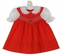 Polly Flinders Red Smocked Dress with Heart Embroidery