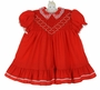 Polly Flinders Red Smocked Dress with White Embroidered Flowers