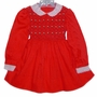 Polly Flinders Red Smocked Dress with White Eyelet Collar