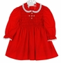 Polly Flinders Red Smocked Dress with White Eyelet Trimmed Collar