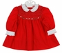 Polly Flinders Red Smocked Dress with White Ruffled Collar and Cuffs