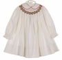Polly Flinders White Bishop Smocked Dress with Holiday Embroidery