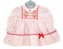 Polly Flinders White Dotted Baby Dress with Poinsetta Embroidery