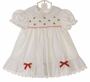 Polly Flinders White Dotted Smocked Dress with Embroidered Red Flowers