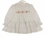 Polly Flinders White Dotted Smocked Dress with Red and Green Embroidery and Pearls