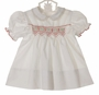 Polly Flinders White Smocked Dress with Embroidered Red Flowers and Ivory Lace Trim