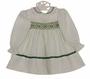 Polly Flinders White Smocked Dress with Green Dots and Eyelet Trim