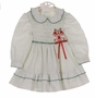 Polly Flinders White Smocked Dress with Green Dots and Red Embroidered Bells