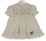 "<img src=""http://site.grammies-attic.com/images/blue-sold-1.gif""> Polly Flinders White Smocked Dress with Green Dots and Tiny Red Flowers"