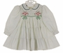 "<img src=""http://site.grammies-attic.com/images/blue-sold-1.gif""> Polly Flinders White Smocked Dress with Green Dots, Tiers of Ruffles, and Red and Green Embroidery"