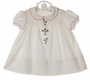 "<img src=""http://site.grammies-attic.com/images/blue-sold-1.gif""> Polly Flinders White Smocked Dress with Red and Green Embroidered Flowers"