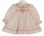 Polly Flinders White Smocked Dress with Red Dots and Embroidered Flower Basket