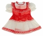 "<img src=""http://site.grammies-attic.com/images/blue-sold-1.gif""> Retro 1950s Red and Antique White Organdy Dress with Scalloped Embroidered Trim"