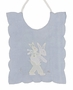 Vintage 1940s Unworn Madeira Blue Bib with Appliqued Bunny Boy and Dad