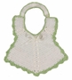 Vintage 1940s White Crocheted Bib with Ribbon Insertion and Green Edging