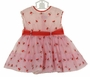 Retro 1950s Pink Checked Organdy Dress with Apples