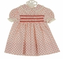 Vintage 1960s Polly Flinders Red and White Print Cotton Smocked Dress with Lace Trim