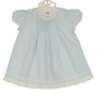 Vintage Feltman Brothers Blue Pintucked Dress with Lace and Embroidery