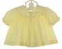 "<img src=""http://site.grammies-attic.com/images/blue-sold-1.gif""> Vintage Feltman Brothers Yellow Smocked Diaper Shirt with Scalloped Embroidered Yoke"
