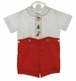 Vintage Unworn Madeira Red and White Button on Shorts Set with Holiday Embroidery