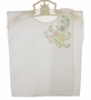 Vintage White Handkerchief Linen Diaper Shirt with Pastel Embroidery and Crocheted Edging