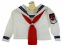 "<img src=""http://site.grammies-attic.com/images/blue-sold-1.gif""> Vintage White Long Sleeved Sailor Shirt with Navy Braid Trim"