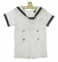 Vintage White Sailor Shortall with Navy Braid Trim