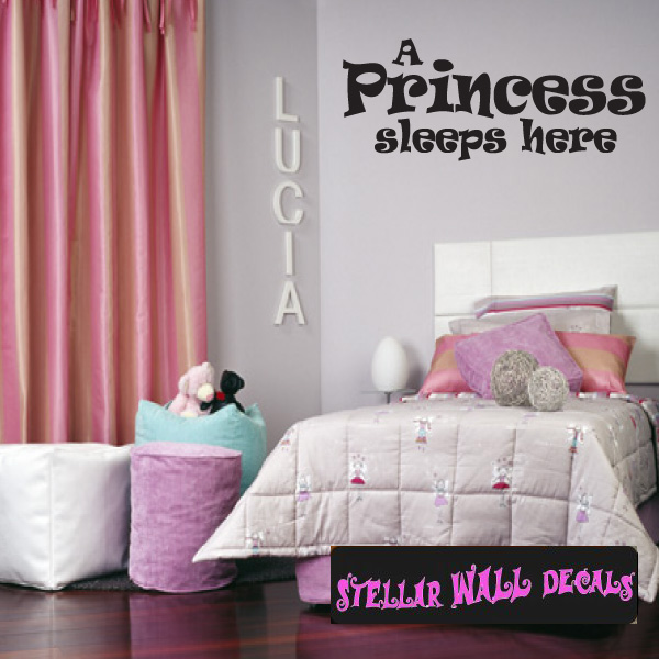 A princess sleeps here Child Teen Wall Decals - Wall Quotes - Wall