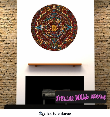 Aztec Calendar Wall Decal - Wall Fabric - Repositionable Decal - Vinyl Car Sticker - usc001