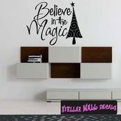 Believe in the magic Tree Christmas Holiday Wall Decals - Wall Quotes - Wall Murals HD034 SWD