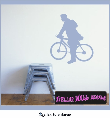 Bicycles man riding a bike Scriptural Christian Wall Decals - Wall Quotes - Wall Murals ARTII8AA SWD