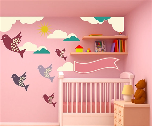 Birds clouds and sun wall decal kit nursery room decor wall fabric vinyl decal removable and reusable