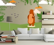 Brown Bear Clouds with Birds Wall Decal Kit - Nursery Room Decor -Wall Fabric - Vinyl Decal - Removable and Reusable