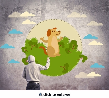 Bunny Bear with Trees and Clouds Wall Decal Kit -Nursery Room Decor -Wall Fabric -Vinyl Decal-Removable and Reusable