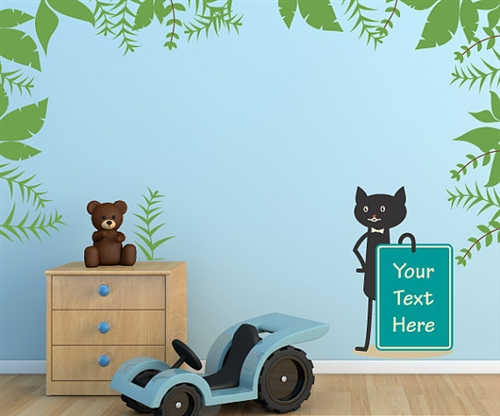 Cat holding sign with leafs wall decal kit nursery room decor wall fabric vinyl decal removable and reusable
