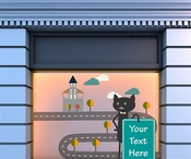 Cat With House and Road Wall Decal Kit - Nursery Room Decor - Wall Fabric - Vinyl Decal - Removable and Reusable