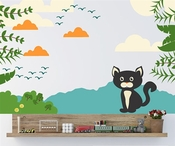 Cat with Leafs Clouds and Birds Wall Decal Kit - Nursery Room Decor -Wall Fabric -Vinyl Decal -Removable and Reusable