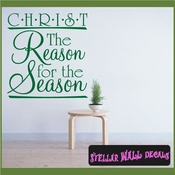 Christ The Reason for the season Christmas Holiday Vinyl Wall Decal Mural Quotes Words HD026 SWD