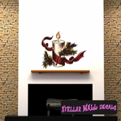 Christmas Candle Wall Decal - Wall Fabric - Repositionable Decal - Vinyl Car Sticker - usc001