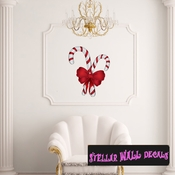 Christmas Candy Cane Wall Decal - Wall Fabric - Repositionable Decal - Vinyl Car Sticker - usc003