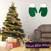 Christmas Mittens Wall Decal - Wall Fabric - Repositionable Decal - Vinyl Car Sticker - usc001