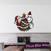 Christmas Santa and Snowman Wall Decal - Wall Fabric - Repositionable Decal - Vinyl Car Sticker - usc009