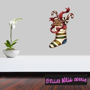 Christmas Stocking Wall Decal - Wall Fabric - Repositionable Decal - Vinyl Car Sticker - usc013