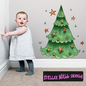 Christmas Tree Wall Decal - Wall Fabric - Repositionable Decal - Vinyl Car Sticker - usc004