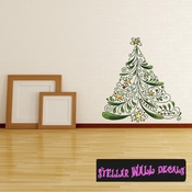 Christmas Tree Wall Decal - Wall Fabric - Repositionable Decal - Vinyl Car Sticker - usc007
