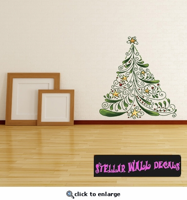 Christmas Tree Wall Decal   Wall Fabric   Repositionable Decal   Vinyl Car  Sticker   Usc007 Part 63