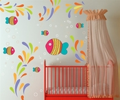 Colorful Fish and Sea Life Wall Decal Kit - Nursery Room Decor - Wall Fabric - Vinyl Decal - Removable and Reusable