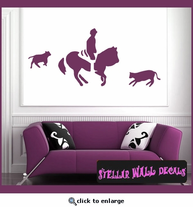 Cowboy Rodeo Sport Vinyl Wall Decal - Wall Sticker - Car Sticker RodeoST158 SWD
