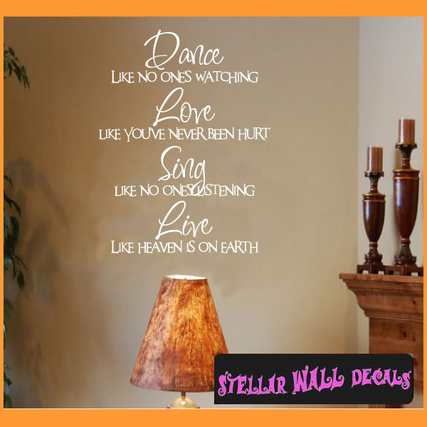 Dance Love Sing Wall Decal Stickers Quotes Vinyl Word Wall Art Mural Wall Decor