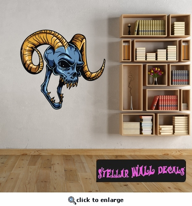 Devil Skull Wall Decal - Wall Fabric - Repositionable Decal - Vinyl Car Sticker - usc001